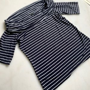 Ann Taylor cowl neck navy and white striped top